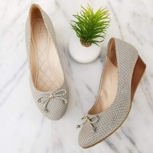 Cole Haan Tali Grand Lace Wedges Pumps Snake Print